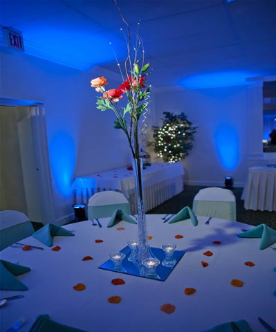 Custom centerpieces can be created by our staff or brought in by guests