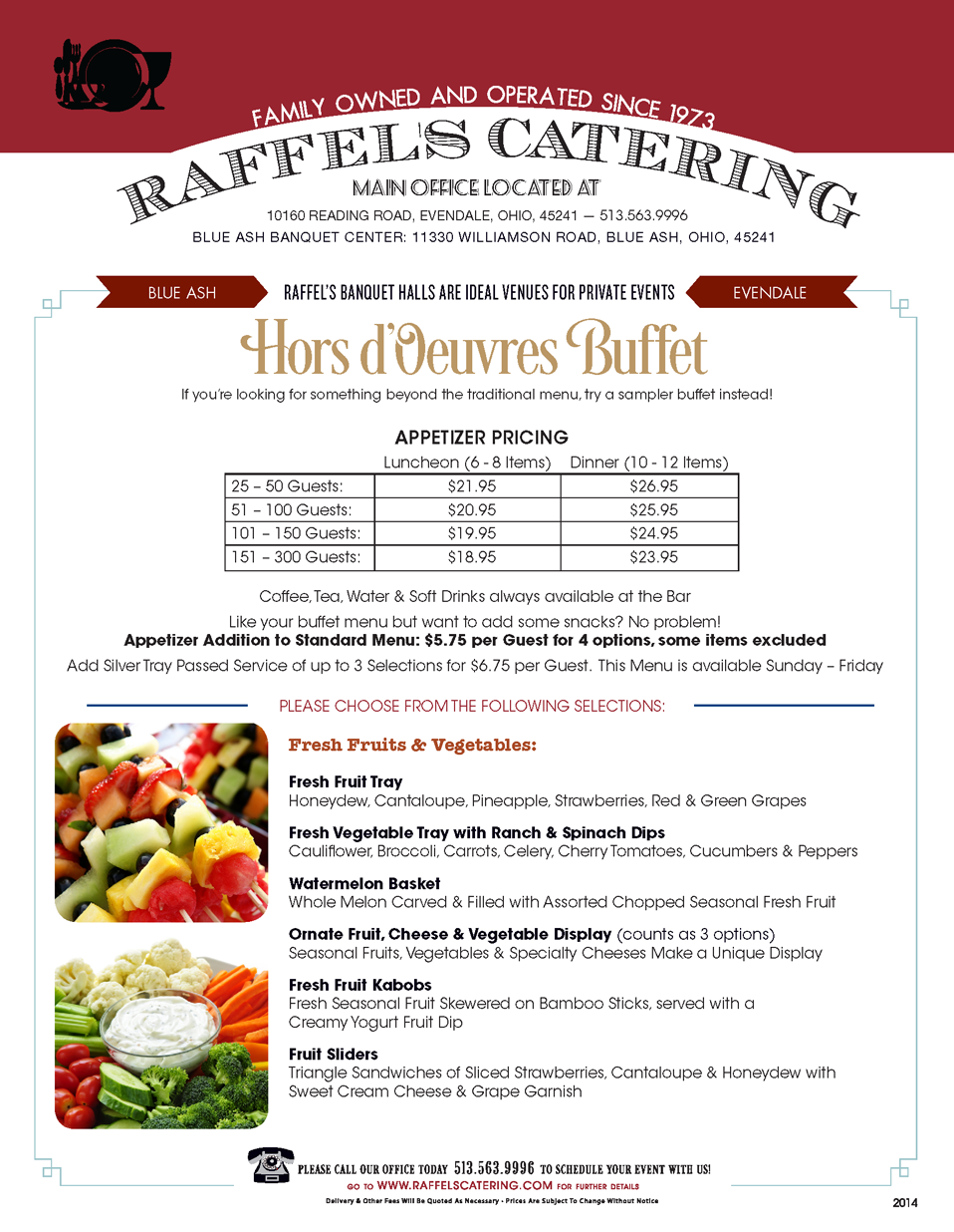 banquet hall, hors d'oeuvres package